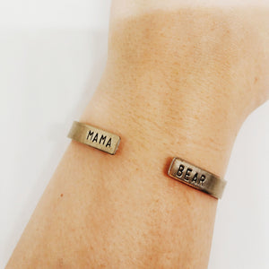 Mama Bear Open Ended Handstamped Cuff