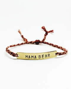 Mama Bear Handstamped Bar Friendship Bracelet