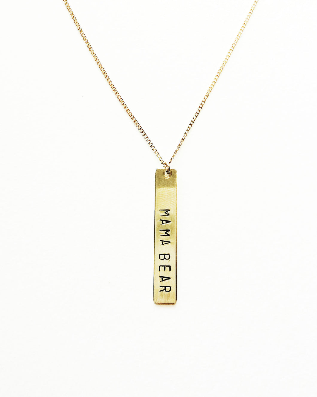 Mama Bear Handstamped Vertical Bar Necklace