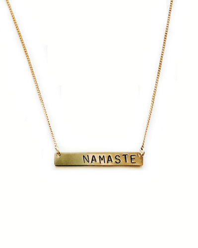 Namaste Handstamped Bar Necklace