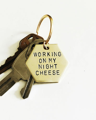 Working On My Night Cheese Handstamped Hexagon Keychain