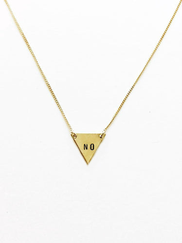 No Handstamped Tiny Triangle Necklace
