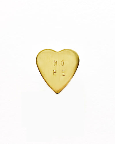 Nope Handstamped Heart Pin