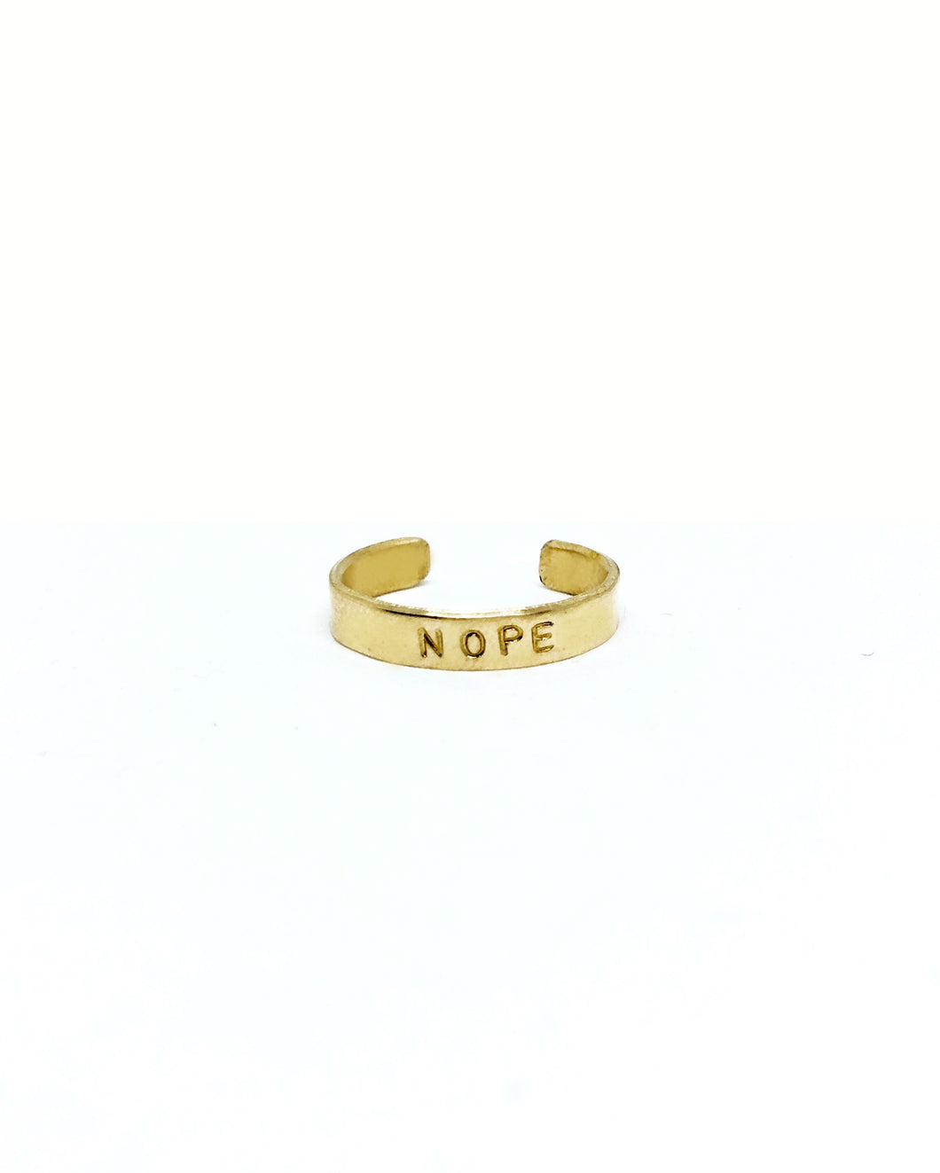 Nope Handstamped Ring