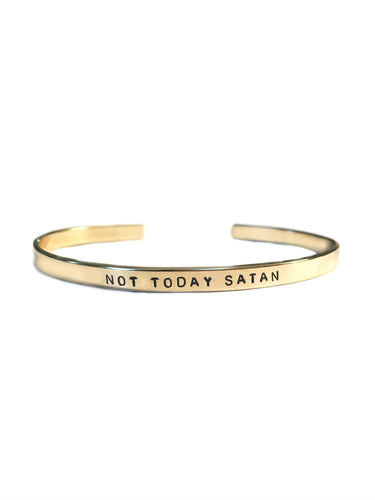 Not Today Satan Handstamped Skinny Cuff