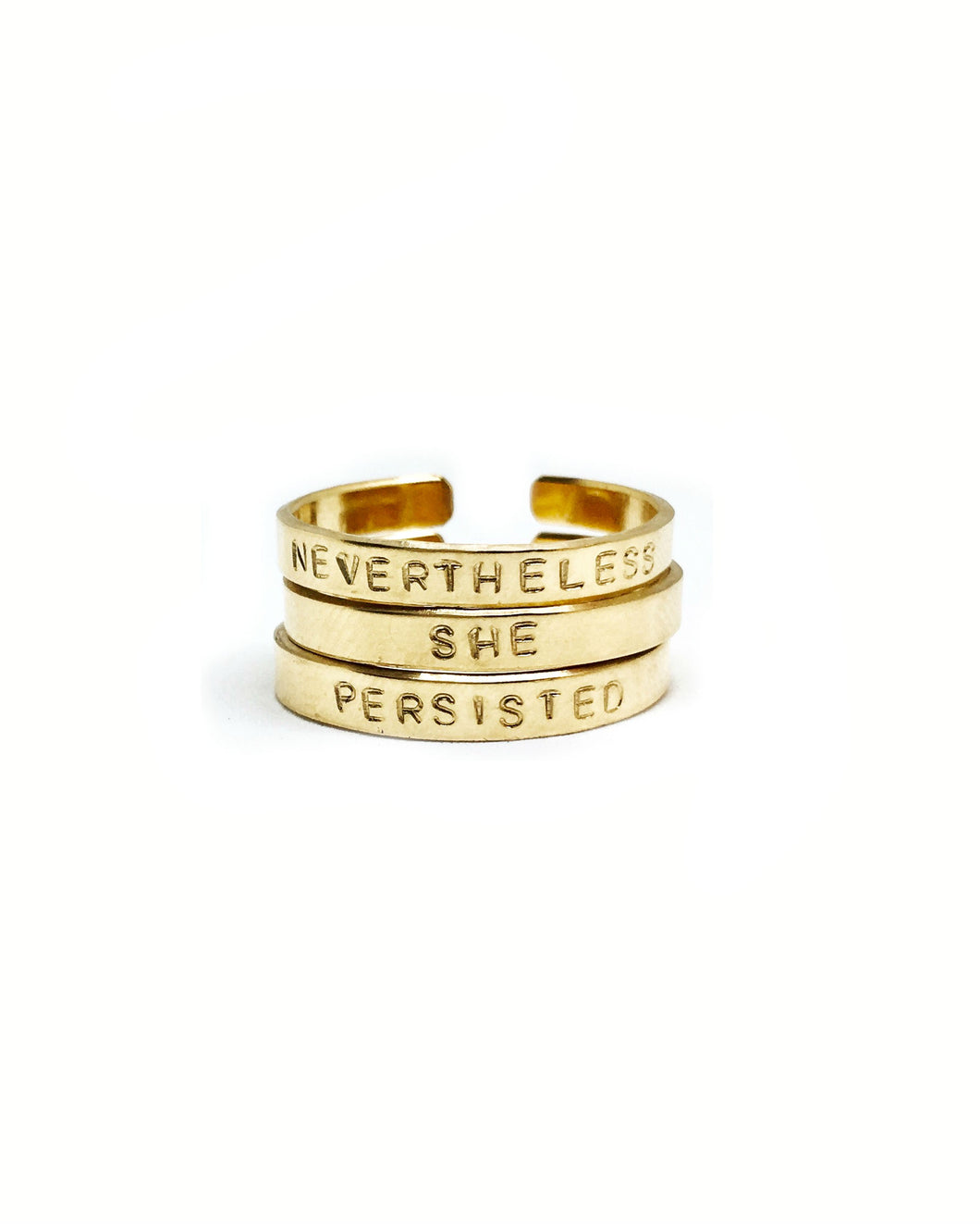 Nevertheless, She Persisted Handstamped Rings