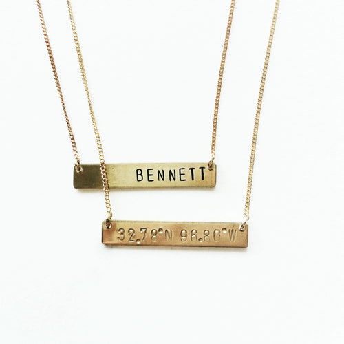 Personalized Handstamped Bar Necklace