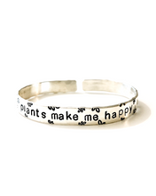 Plants Make Me Happy Handstamped Cuff