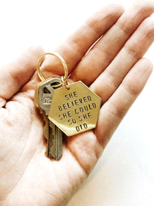 She Believed She Could Handstamped Hexagon Keychain