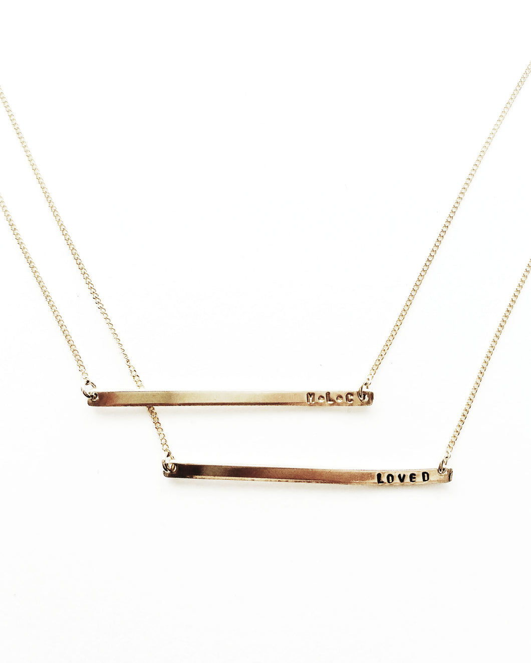 Personalized Handstamped Skinny Bar Necklace