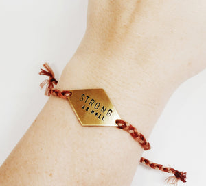 Strong As Hell Handstamped Rhombus Friendship Bracelet