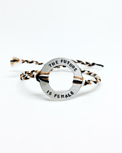 The Future Is Female Handstamped Washer Friendship Bracelet