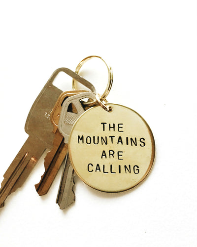 The Mountains Are Calling Handstamped Keychain