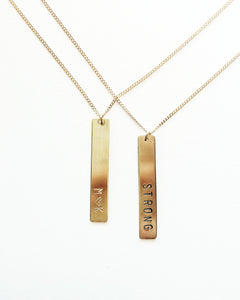 Personalized Handstamped Vertical Bar Necklace
