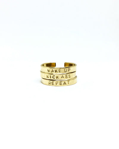 Wake Up / Kick A** / Repeat Handstamped Rings