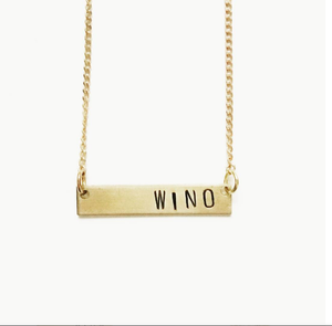 Wino Handstamped Tiny Bar Necklace