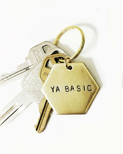 Ya Basic Handstamped Hexagon Keychain