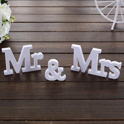 Mr & Mrs White Letters Wedding Decor