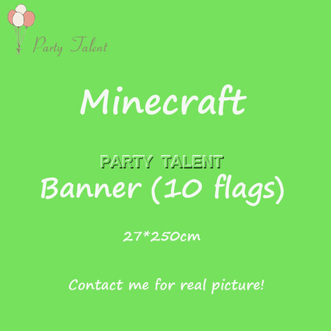 Minecraft Theme Birthday Party Decoration Paper Banner 10 flags