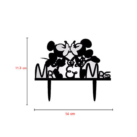 Mickey And Minnie Mouse Mr & Mrs Wedding Cake Topper