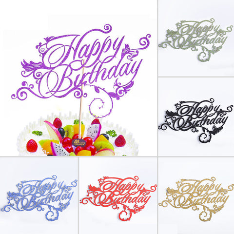 Happy Birthday Cupcake Cake Topper with Artistic Font