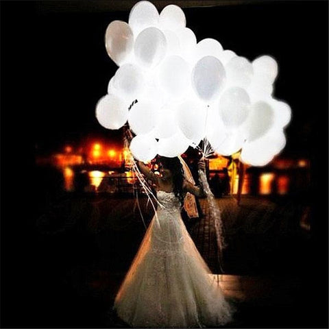 5Pcs LED Balloons 12 Inches Latex White Lights