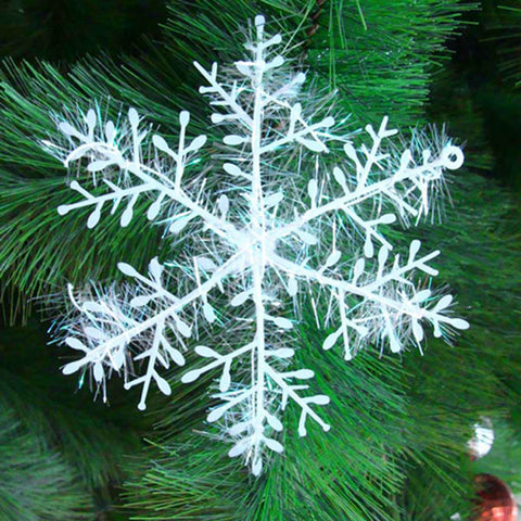 White Artificial Snowflake Christmas Tree Ornaments