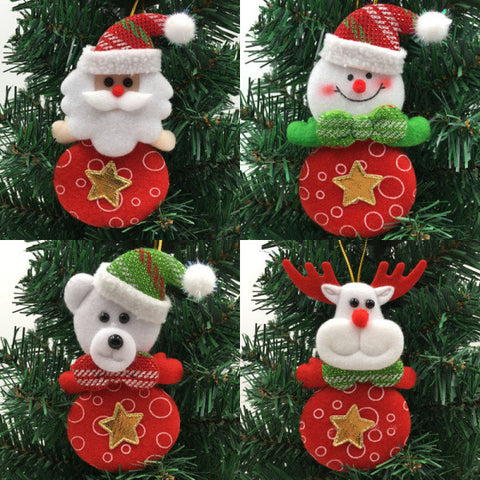 Soft Christmas Ornaments Santa Claus Snowman Reindeer Bear