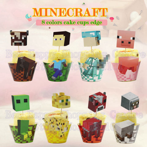 Minecraft Cup Cake Birthday Party Food Wrappers And Toppers 48 sets/lot