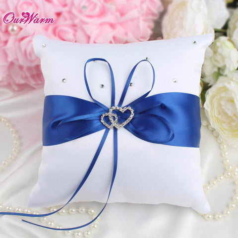 Double Heart Satin Ring Pillow with Rhinestone Diamond