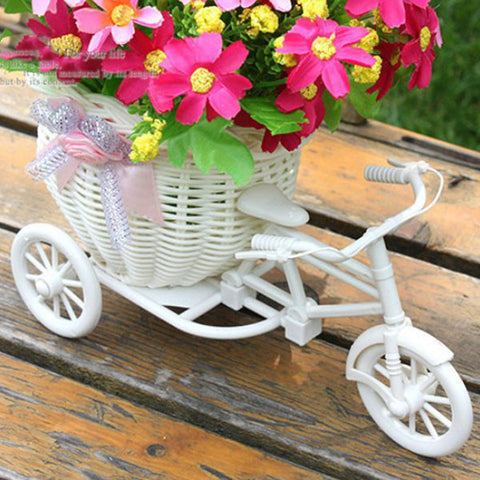 Plastic White Tricycle Bike Design Flower Basket