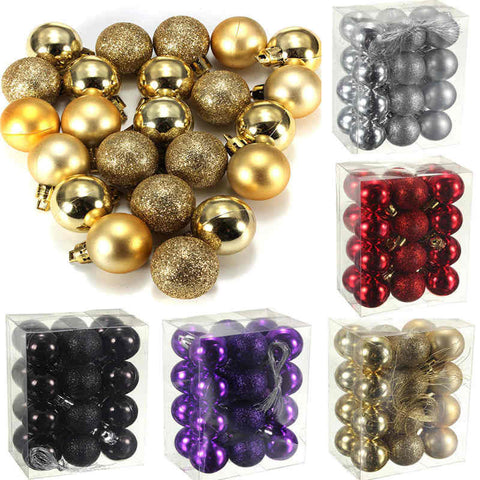 Glitter Christmas Ball Ornaments 24Pcs/Set