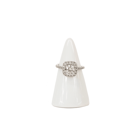 White Gold and Diamond Halo Ring - 6.5 - Fashionably Yours