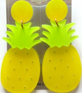 Pineapple Dangle Earrings (Yellow) The Bohemian's Closet