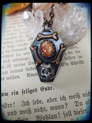 Sterling silver coffin sunstone pendant necklace~