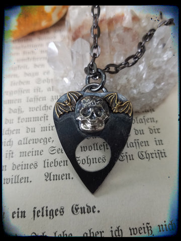 Sterling silver skull and bat plancette pendant necklace ~