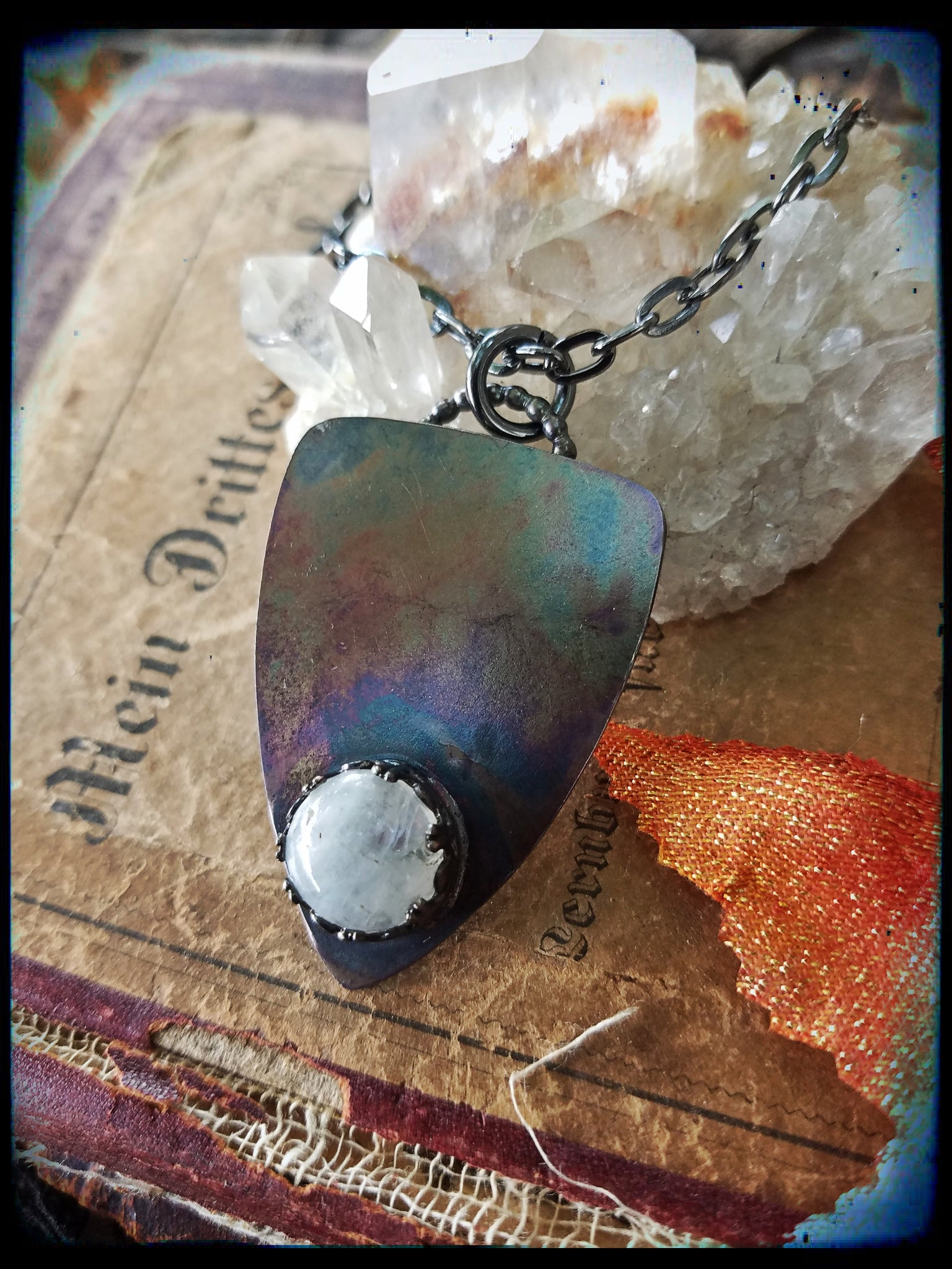 Sterling silver moonstone plancette necklace~