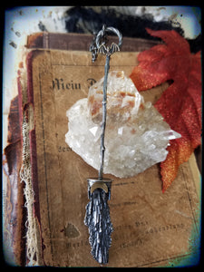 Sterling silver batty witches besom necklace~