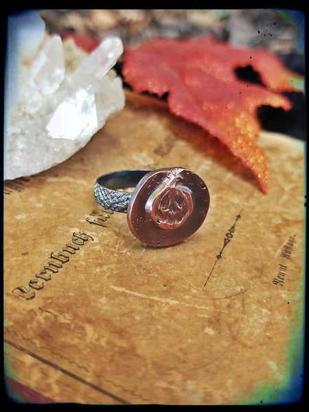 Jack 'O lantern sterling silver and copper ring size 5.5~