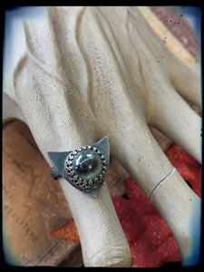 Taxidermy toad eye sterling silver ring size 8