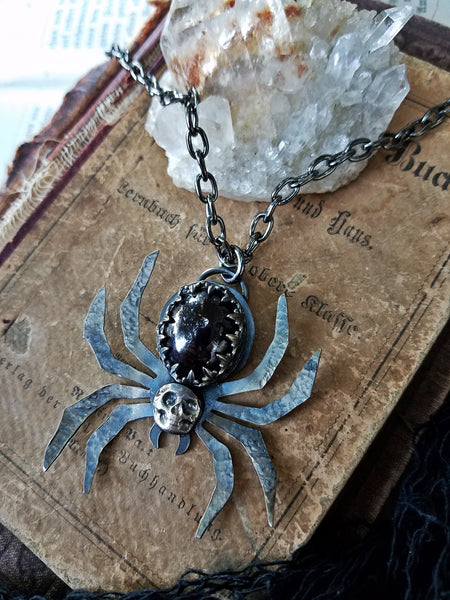 Death Spider~Sterling silver star garnet spider necklace~