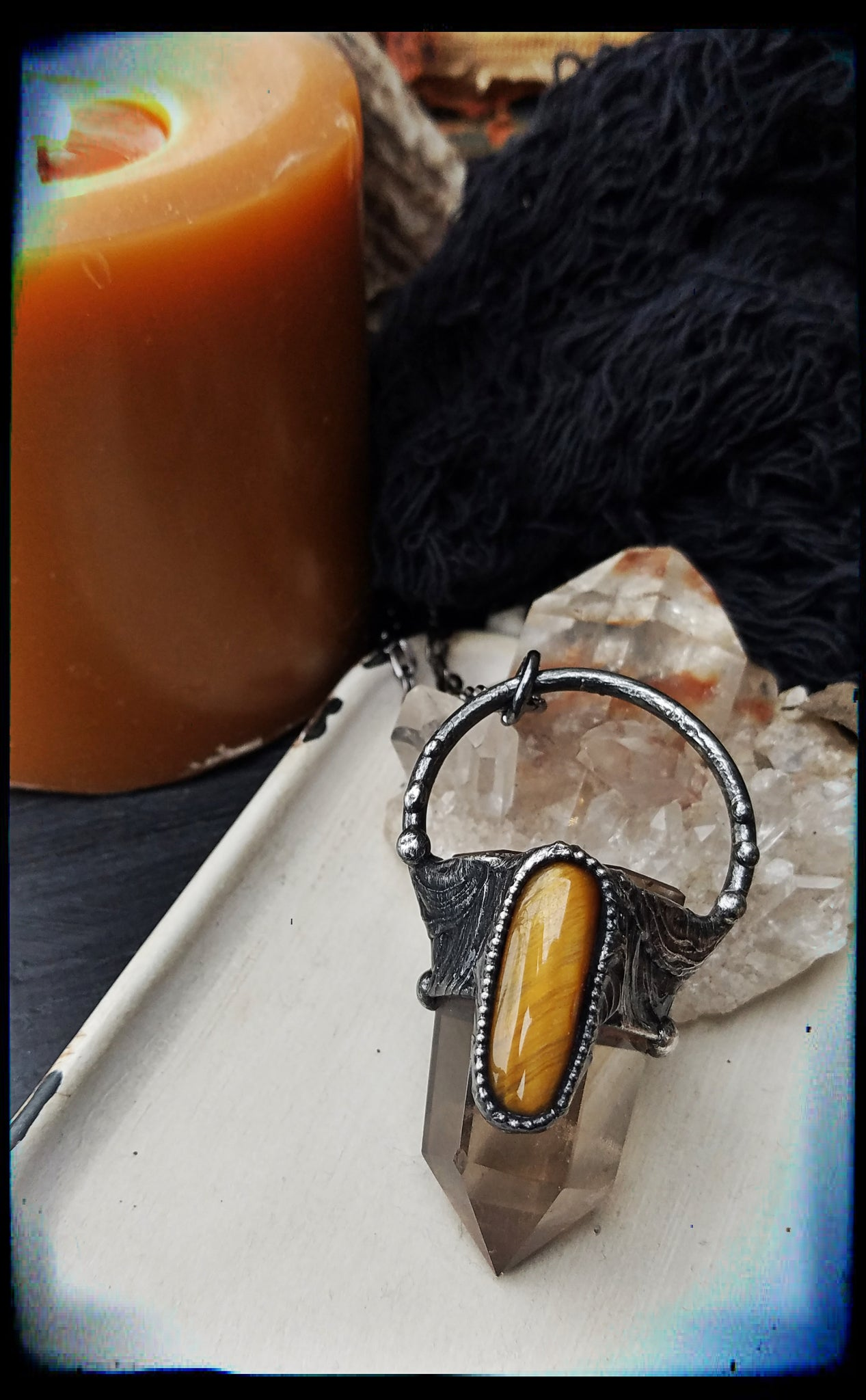 Smoky quartz and Tigerseye crystal talisman necklace~
