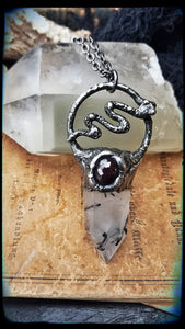 In quartz and star garnet serpant crystal talisman necklace~
