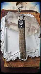 Sterling silver coffin and  crucifix lithium quartz crystal talisman necklace~