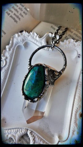 Clear quartz with chrysocolla with azurite crystal Talisman necklace~