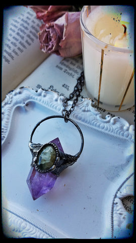 Double terminated amethyst and prehnite crystal necklace~
