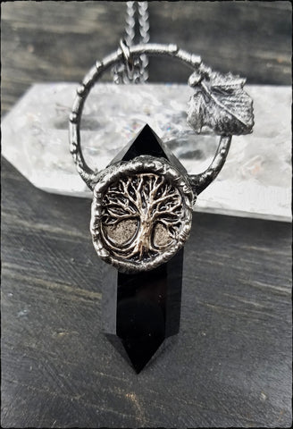 The Paletree~obsidian crystal tree necklace~