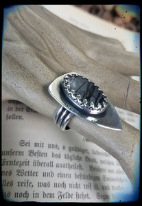 Sterling and fine silver shield picasso jasper ring size 7.5~