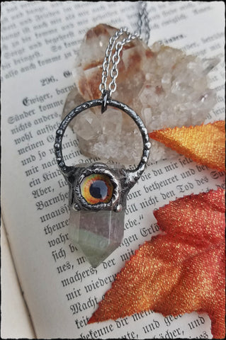 The Graeae~flourite and glass eyeball Crystal Talisman necklace~
