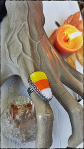 Trick or treat~Sterling silver artisan made glass candy corn cabochon ring size 8~